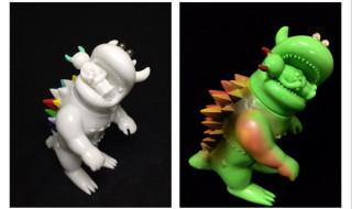 怪獣と子供の国 怪獣INNOCENT&子供CORE 蛍光グリーン(MNスプレー彩色vr001)(右上)、蛍光グリーン(左下) 7色ノ棘(MN手塗り彩色vr000)(左上)、ギガラメレインボ(右下)