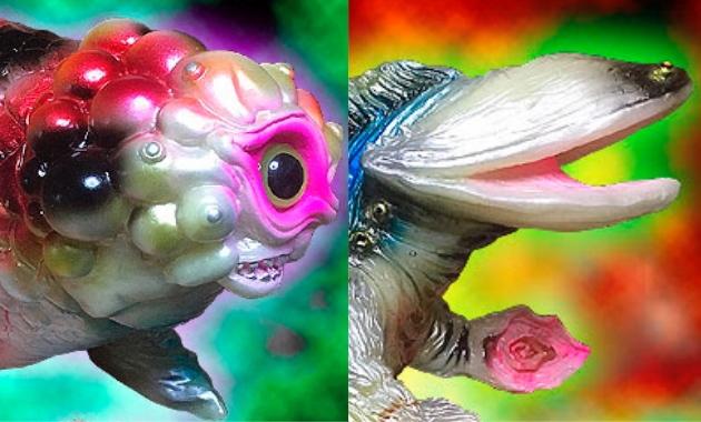 BLObPUS × ヤモマーク キンギョザウルス独眼[蓄光BLObPUS彩色版] ヌルヌルン(スタンダード&ミドルサイズ)セット[蓄光BLObPUS彩色版]