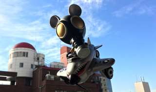 "Ron English x BlackBook Toy Mousemask Murph'y in Airplane ""Tokyo Gold"" edition"