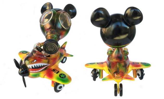 Ron English x BlackBook Toy Mousemask Murph'y in Airplane Autumn Stealth Camo