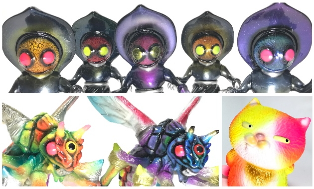 2017年4月23日の「スーパーフェスティバル74」でドリームロケットが「フラッドウッズの怪物3mの宇宙人」「ベルゼブブ」「ゴロネコォネ」のカスタム&新色を準備中!